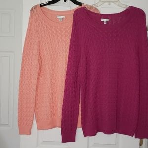 Kohls Croft & Barrow Bundle 2 Cable Knit Sweaters